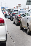 Cars on the road in traffic jam. Traffic situation in the Mumbai city. Pollution situation in India.  - 212715492