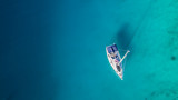 Sailing boat anchoring in Croatia bay, aerial view. - 212722068