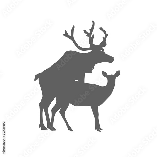 In de dag Hipster Hert Mating deers silhouette. Flat icon