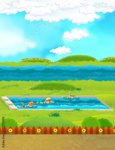 cartoon scene with children swimming in a pool training - illustration for children - 212733419
