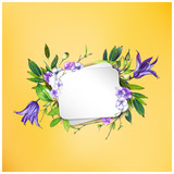 Colorful floral background with flowers. Purple Clematis flower, hydrangea   and leaves. Markers' art. Invitation or poster design, banner template for social media advertising or shares and sales. - 212734042
