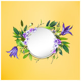 Colorful floral background with flowers. Purple Clematis flower, hydrangea   and leaves. Markers' art. Invitation or poster design, banner template for social media advertising or shares and sales. - 212734063