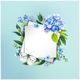 Colorful floral background with beautiful flowers. Blue hydrangea, butterfly and leaves. Markers' art. Invitation or poster design, banner template for social media advertising or shares and sales. - 212734299