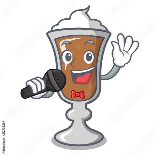 Fototapeta Singing irish coffee mascot cartoon