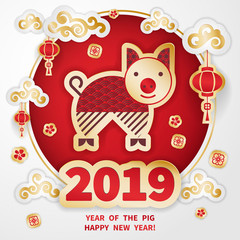 Pig is a symbol of the 2019 Chinese New Year. Greeting card in Oriental style. Round frame, floral elements, lanterns and Golden zodiac sign Pig on red background. Paper cut art  © ledelena