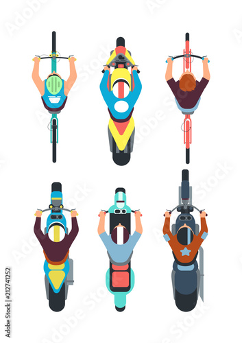 People on bike top view. Persons ride motorcycle, scooter and bicycle in overhead view. Vector set