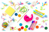 Background of colorful school supplies  isolated on white. Back to school concept - 212742676