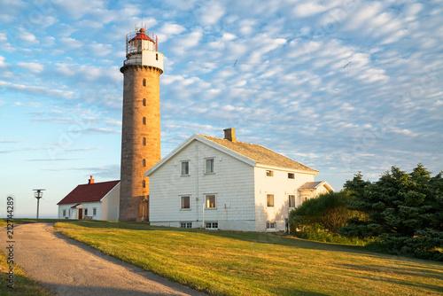 Fotobehang Vuurtoren Leuchtturm Lista Fyr im Morgenlicht