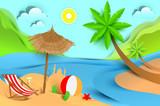 Summer beach holiday vacation. Tropical landscape flat illustration
