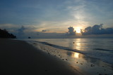 A beautiful sunset over the ocean, view from the beach of Tioman island, Malaysia