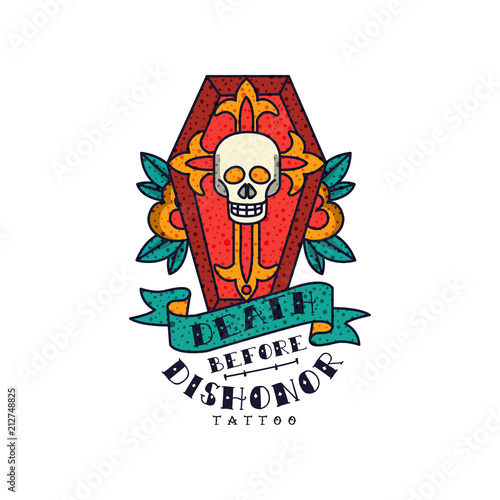 Red coffin skull rose flowers and words death before dishonor red coffin skull rose flowers and words death before dishonor classic american old mightylinksfo