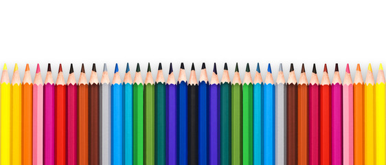 Row of colorful wooden pencils isolated on white background with copy space, back to school concept © Delphotostock