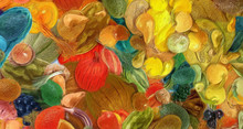 """Постер, картина, фотообои """"Abstract art background. Oil painting style vegetables. Warm colorful texture. Soft paint brushstrokes. Modern art. Contemporary artistic print. Template for design products decoration. Organic decor."""""""