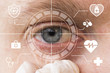 Future man with cyber technology treatment eye panel. Health eye concept.