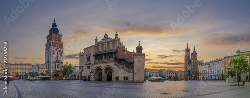 The main square in Krakow at sunrise, Poland-Panorama © Mike Mareen