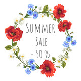 summer sale. wreath with poppies, cornflowers and chamomiles