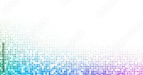 Poster White background with colorful dotted halftone pattern.