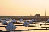 Jing-Zai-Jiao Tile-Paved Salt Fields at sunset in Tainan, Taiwan
