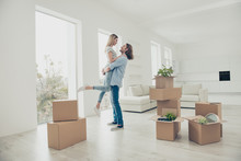 """Постер, картина, фотообои """"I want to live with you forever! Out dreams come true! Lifestyle modern stylish dreamy trendy loft flat concept. Adorable beautiful attractive excited cheerful joyful couple dancing in new house"""""""
