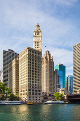CHICAGO, ILLINOIS - JUNE 25:  View of the city of Chicago as seen from the river with buildings and boats