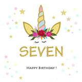 Seventh birtday. Seven. Unicorn Birthday invitation. Party invitation greeting card