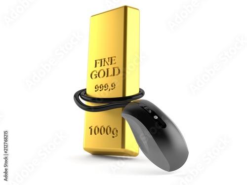 Sztabki złota z myszką komputerową