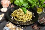 Pasta with pesto sauce - 212769059