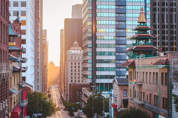 San Francisco downtown with California Street at sunrise, San Francisco, California, USA