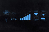 business icons next to positive growth stats and before and after hourglasses depicting time passying by - 212779089