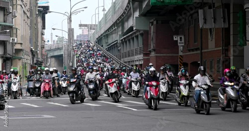 Poster Crowded of scooter in taipei city