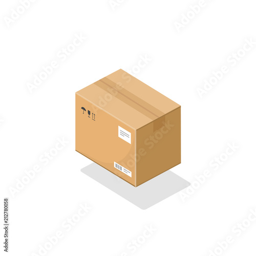 Parcel box isometric vector icon, 3d cartoon cardboard package paper box isolated on white background