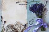 Background with lavender flowers, sachet bags and paper for text - 212782470