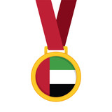 United Arab Emirates national flag gold first place winners medal.