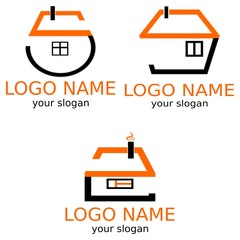 Houses are stylized by numbers. A set of logos