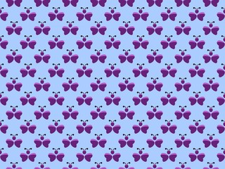 Seamless pattern. Abstract butterfly purple on a blue background. Vector