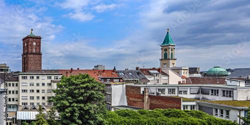 canvas print picture Blick über Karlsruhe