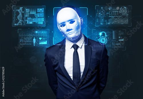 Leinwanddruck Bild Biometric verification - young man face recognition