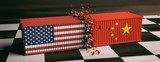 USA and China trade war. US of America and chinese flags crashed containers on chessboard. 3d illustration - 212787465