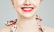 Happy Female Smile with White Teeth. Lips with Red Lipstick