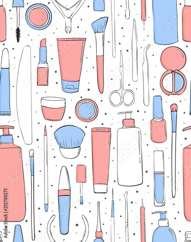 Cosmetics and makeup. Seamless pattern. Beauty saloon. Pastel pink and blue color. Trendy style, drawing by hand. Background for girls. - 212788271