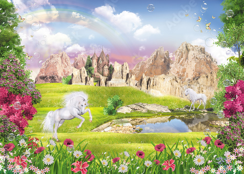 Fotobehang Zalm unicorns at the lake