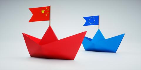 Papierschiffchen China und Europa auf Kurs