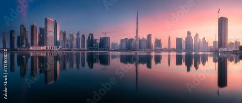 Leinwanddruck Bild Panoramic view of Dubai Business bay, UAE