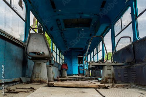 Fotobehang Oude verlaten gebouwen old rusty tram ecological catastrophe