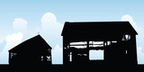 Silhouette illustration of an old, collapsing farm barn. - 212807827