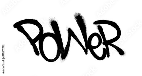 Sprayed power font graffiti with overspray in black over white. Vector illustration.