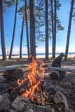 A bonfire burns in a camping i - 212809015