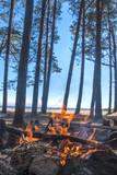 A bonfire burns in a camping i - 212810404