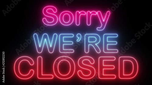 Sorry We are closed - Neon - 4K 60 fps Seamless loop, Loop ready in 4k resolution