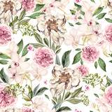 Watercolor pattern with peony flowers and orchids.  - 212812853
